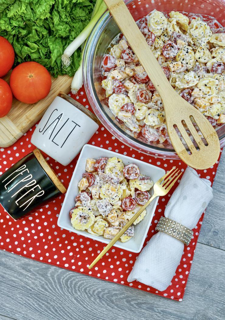 Easy Bacon Cheddar Ranch Tortellini Pasta Salad